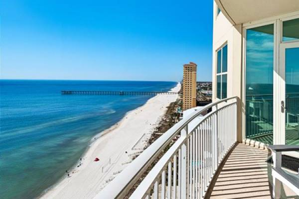 condo balcony at Aqua Gulf Resort in Panama City Beach