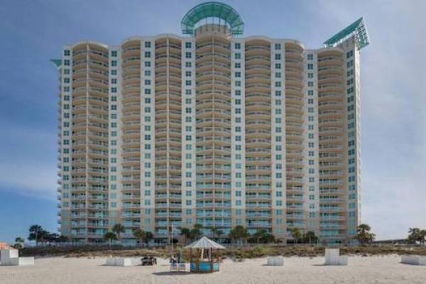 view of Aqua Resort in Panama City Beach Florida from the gulf of mexico