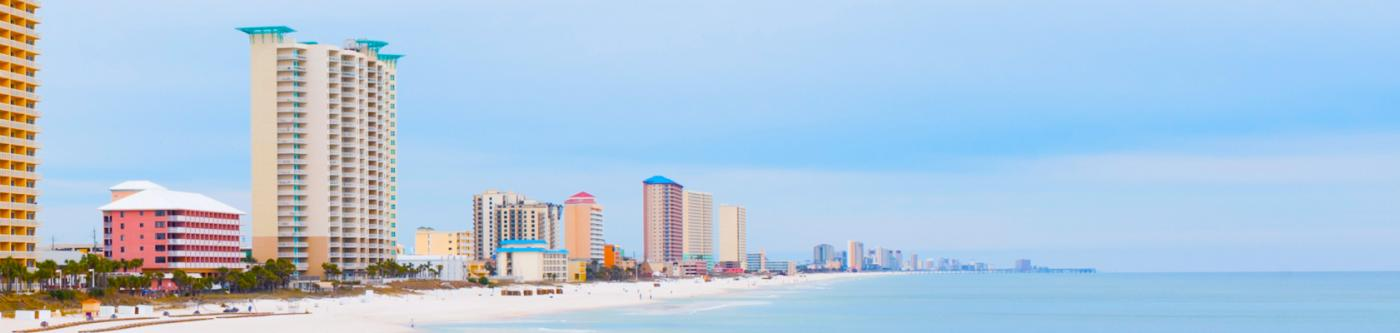 Panama City Beach coastline and condo buildings